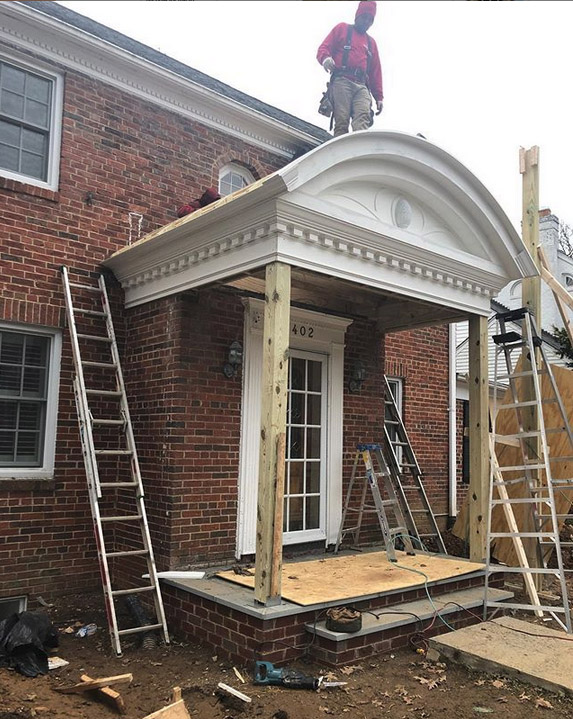 Our custom-built portico is almost done!